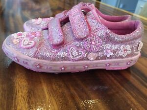 Pink sparkle Lelli Kelly sneaker Velcro shoes size 2 or 33