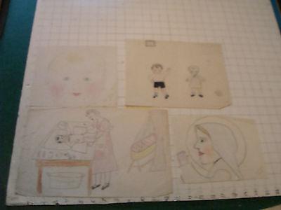 original MEIJER art: 4 works, 1930's some signed, MOM, BABIES, SAINT, CHILDREN