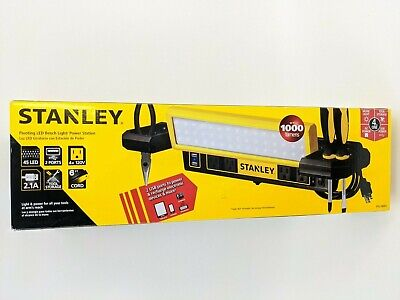 Stanley 1000 Lumens Work Bench Shop Light With Ac And Usb Power Strip - New