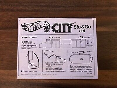 Hot Wheels Mattel Vintage 1979 CITY Sto & Go Playset Instructions Only