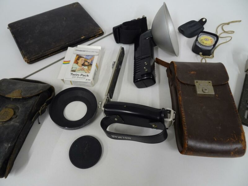 Mixed Lot Camera Equipment Light Meter Flasholder Leather cases Wide Angle Hood