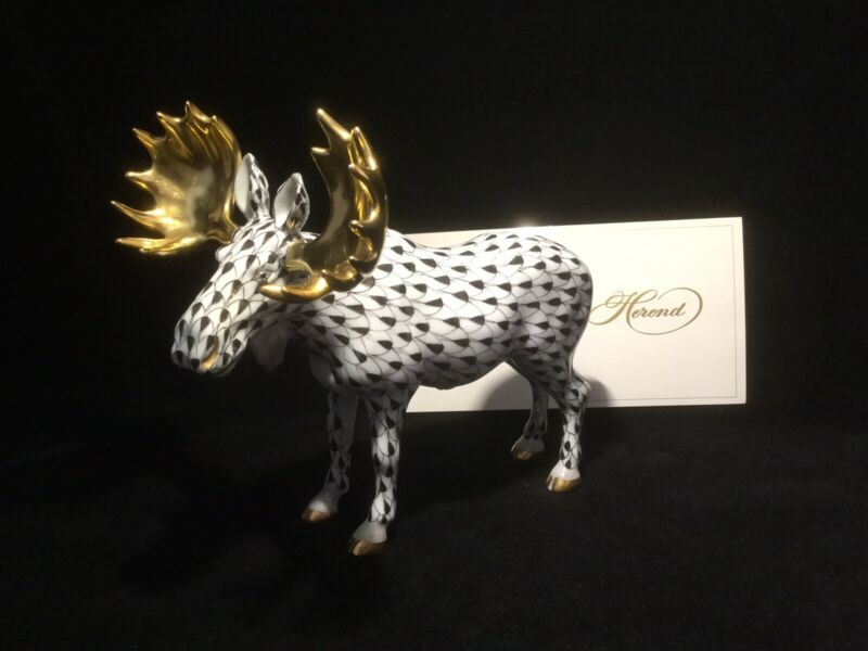 Herend Moose-Black With Gold Horns.                                        *2896