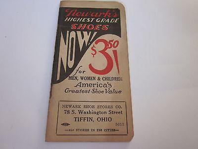 Vintage Memo Book Advertising Newark Shoes Tiffin, Ohio C