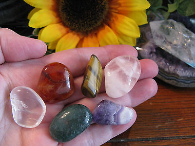 "New ""Spa Relaxation"" Natural Crystal Meditation Yoga Gemstone Set of 6--Relax!"