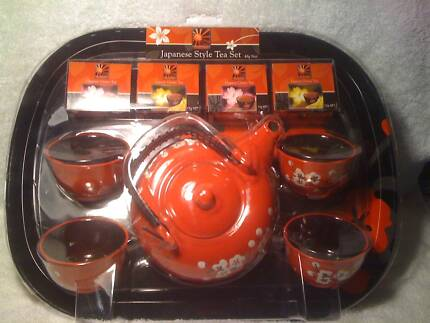 NEW - Japanese style tea set - red with cherry blossoms - PERFECT Kenwick Gosnells Area Preview