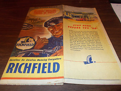 1940s Richfield Delaware/Maryland/Virginia/West Virginia Vintage Road Map