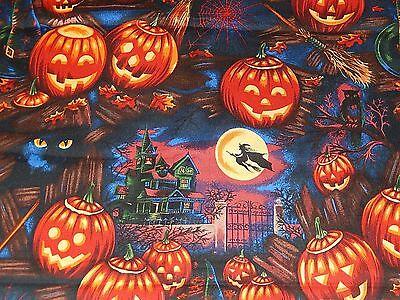 HALLOWEEN BLACK CATS + WITCHES' HAT ALEXANDER HENRY 100% Cotton Fabric HALF YARD - Henri Black Cat Halloween