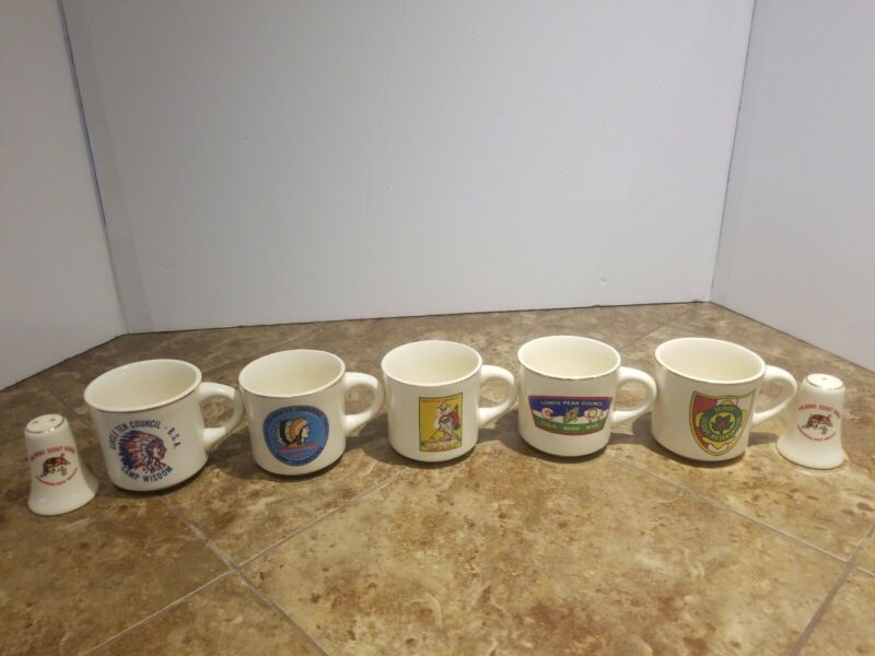 VINTAGEBOYSCOUT COFFEE MUGS. AS WELL AS SALT AND PEPPER.