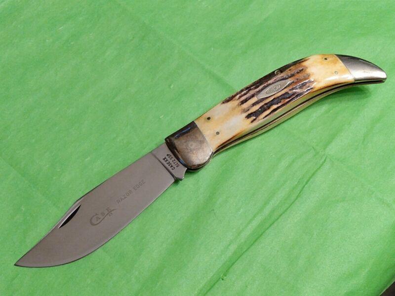 1976 CASE XX 5172 SSP BEAUTIFUL STAG HANDLE RAZOR EDGE CLASP KNIFE - NEAR MINT
