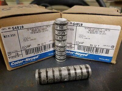 Box of 10 THOMAS BETTS 54810 LONG BARREL COPPER Crimp SPLICE 2/0 AWG MAKE OFFER!