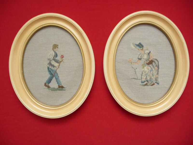 Needlecraft Pictures Wall Framed Oval Embroidered SET Of 2 Vnt Man Lady w/ Rose