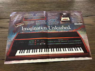 1983 VINTAGE 2 PAGE PRINT AD FOR Rhodes Chroma Analog Synthesizer APPLE COMPUTER