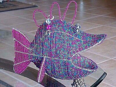 "Used, ART GLASS BEAD SCULPTURE TROPICAL BIG MOUTH FISH 11"" 3D for sale  El Dorado"