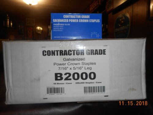 B2000 Contractor Grade Galvanized Power Crown Staples, Listing is for 10 boxes.