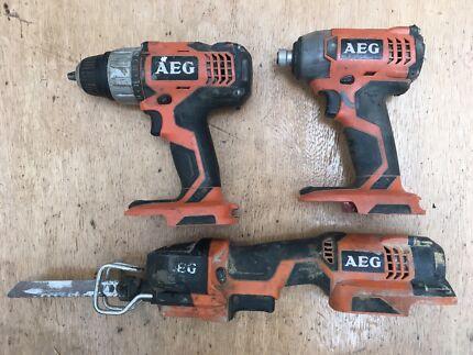 AEG 18V Cordless Skins - Drill Impact Driver Sabre Saw