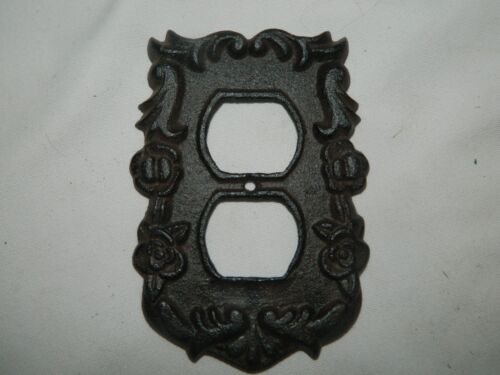 Rustic Ornate French Style Cast Iron Double Electric Outlet Plate Cover
