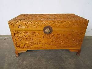 D6056 Lovely Oriental Ornate Carved Camphor Wood Trunk Pheasants Unley Unley Area Preview