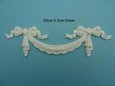 Decorative swag and bows resin applique furniture moulding onlay 042A