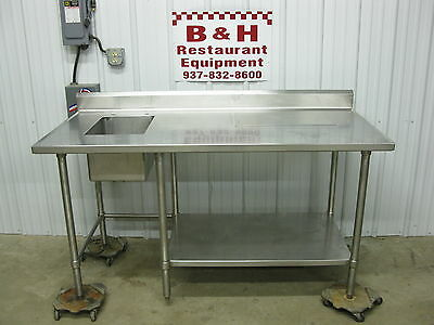 66 Stainless Steel Heavy Duty Work Prep Table W 1 Bowl Compartment Sink 5 6