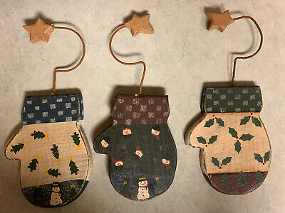 3 NEW Wooden Mitten Ornaments for Christmas Tree/Wall w/gift Box- FREE SHIPPING
