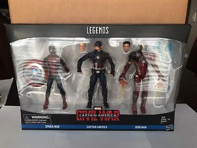 Marvel Legends CIVIL WAR 3-Pack SPIDER-MAN Captain America Iron Man Sealed NIB