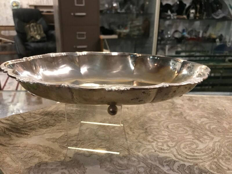 Vintage Antique Silverplated Bowl Serving Tray Planter