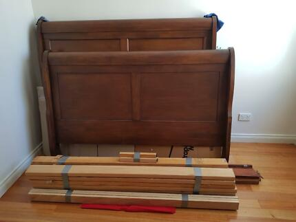 Hand restored Queen sleigh bed plus bedsides for sale