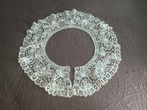 Lovely Antique Large Off White Battenburg Lace Bertha Collar Hand Made