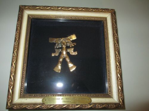 Vintage Panama Gold Plated Pre-Colombian Mayan Reproduction Figure Art 453E