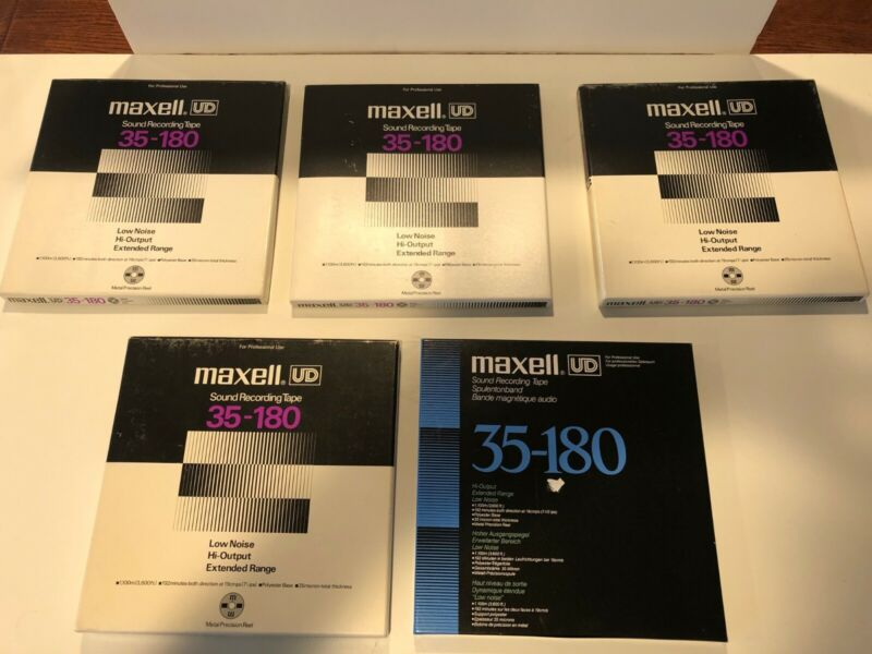 """Maxell 10 1/2"""" UD 35-180 Reel to Reel Blank Tapes LOT of 5"""