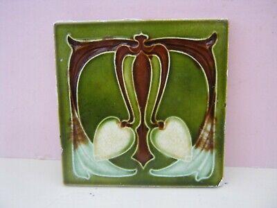 Vintage ORIGINAL Art Nouveau Ceramic Tile - 6. INCH FREE POSTAGE