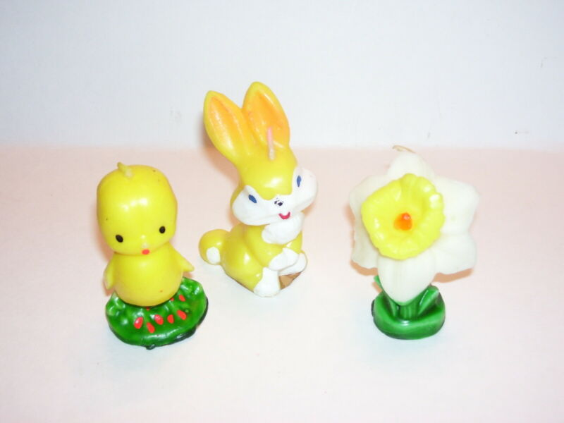 Vintage Unused Easter Gurley Chick Daffadil Rabbit Candles