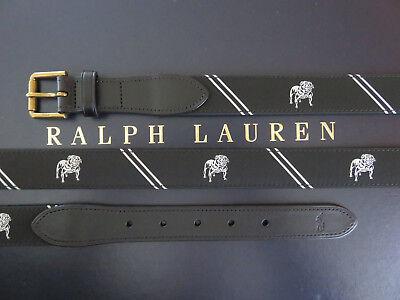 Bulldogs Mens Leather - Polo RALPH LAUREN Men's 32/34/38/40/42 CP93 RL67 Leather Bulldog Webbed Belt