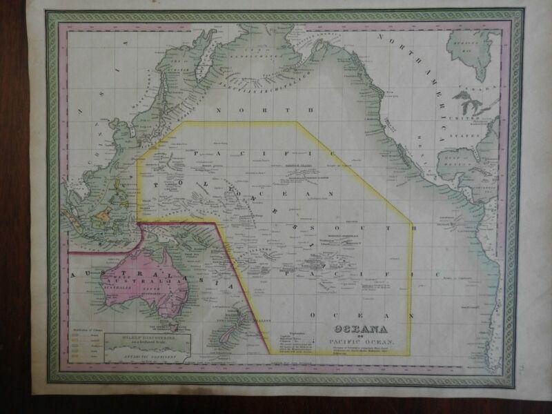 Pacific Ocean Oceania Polynesia Hawaii Australia New Zealand 1846-9 Mitchell map