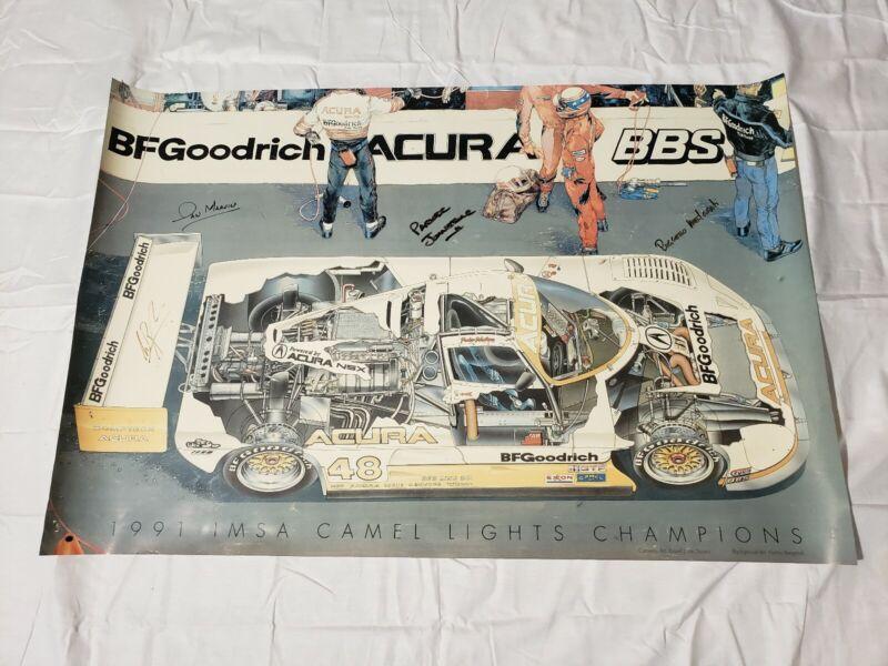 "Spice SE90P Acura Comptech #48 Parker Johnstone Poster Signed 1991 36""×24"""