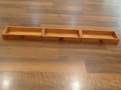 Set of 3 Antique Writing Slope Secret drawers with material pulls