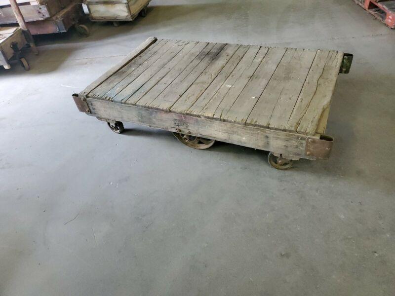 Vintage Jakes Factory Cart w Cast Iron Wheels