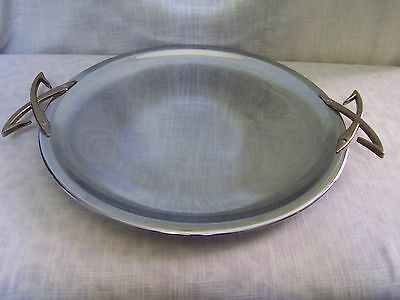 "Kromex Silver Round Serving Tray Platter 13 1/4"""