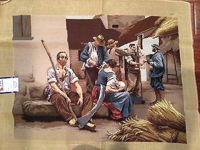 "Large Vintage Completed Needlepoint Canvas Art Tapestry 27"" x 32"""