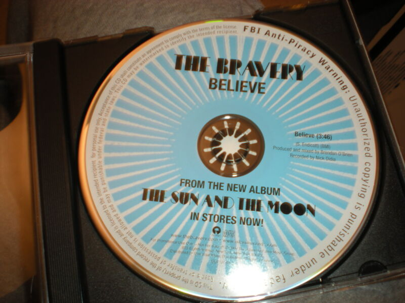 The Bravery I Believe CD SINGLE one track no artwork