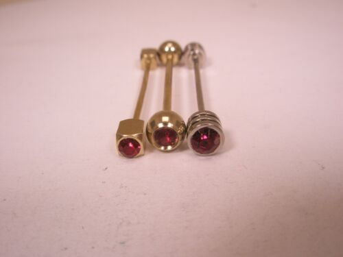 -3 lot Red Rhinestone Gold & Silver Tones Vintage Collar Bars (3 unbranded) L23