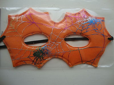 Halloween Eye Mask Fancy Dress Party Mask Orange with Shiny Cobwebs Masked Ball - Cobweb Eyes Halloween