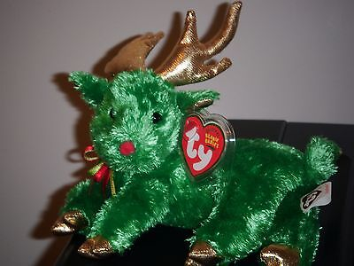 Ty Beanie Baby ~ SLEIGHBELLE the Green Reindeer ~ MINT with MINT TAGS