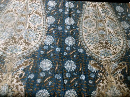 Vintage French Indienne Paisley Bird Batik Furnishings Fabric ~Indigo Blue Brown