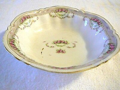 Antique RS Prussia Bowl Pink Carnations Gold Trim Red/Green Wreath Mark Beauty