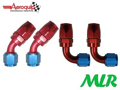 AEROQUIP AN -6 JIC 45° & 90° DEGREE REMOTE OIL FILTER HOSE PIPE FITTING SET OF 4