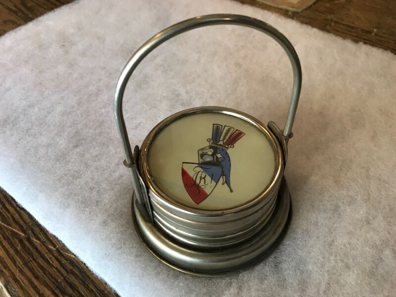 French Republic Vintage Silver & Glass Coaster Set