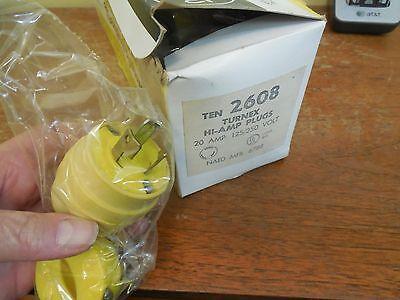 50 New In Box Woodhead 2608 Turnex Hi Amp Plugs - 20a 125250 Volt 3 Pole..50
