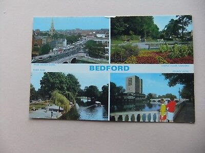 OLD 4 VIEW POSTCARD - BEDFORD - BEDFORDSHIRE -River Ouse