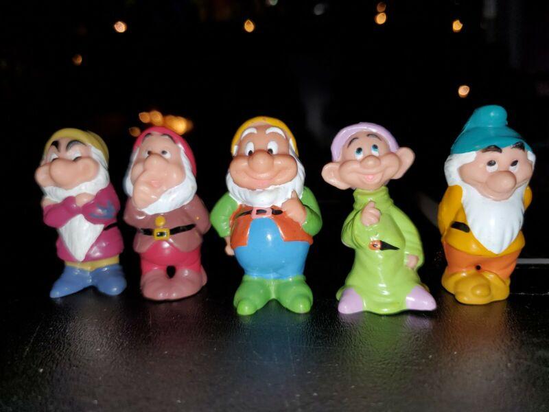 "VINTAGE DISNEY Snow White and the 7 Seven Dwarves PVC Figures 2"" Lot of 5"